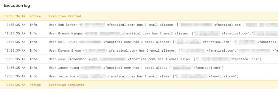 Execution log of printing users with email aliases