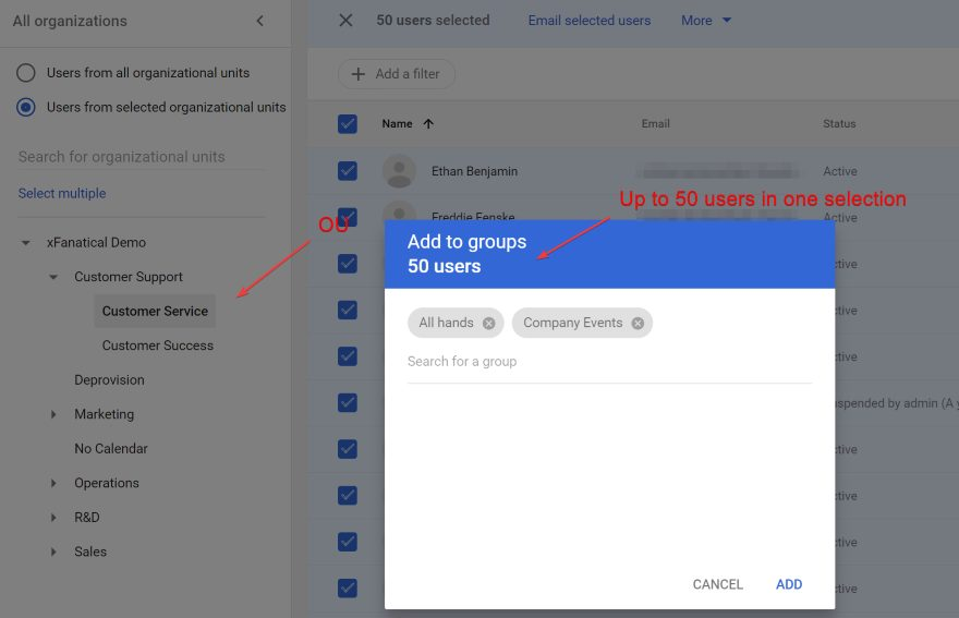 Admins can only add up to 50 users into groups at a time in Google Workspace