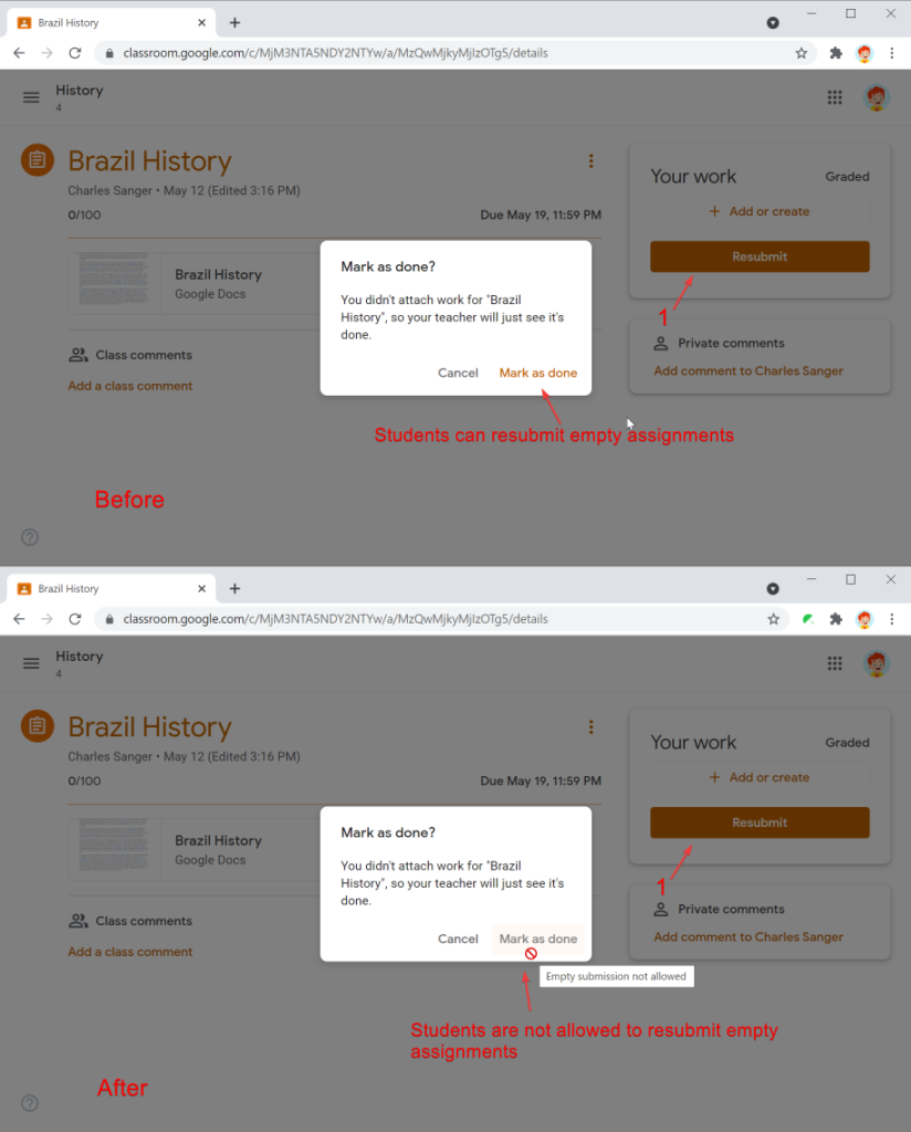 Safe Doc disables resubmitting empty assignment in Google Classroom