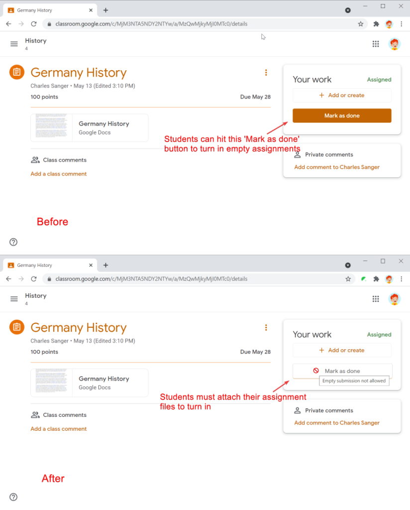 Safe Doc disables the 'Mark as done' button in Google Classroom