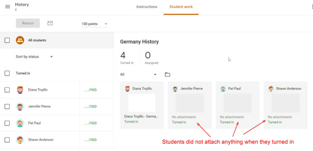 Students turn in empty assignments in Google Classroom