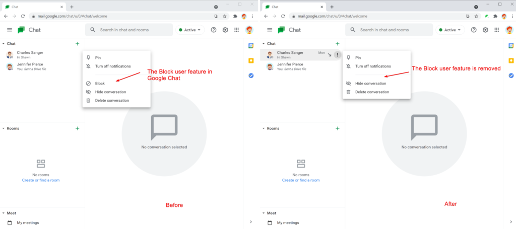 Safe Doc disables the 'Block user' feature in Google Chat
