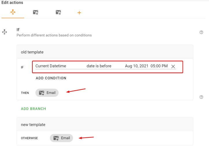 Configuration if action for different recurring email templates