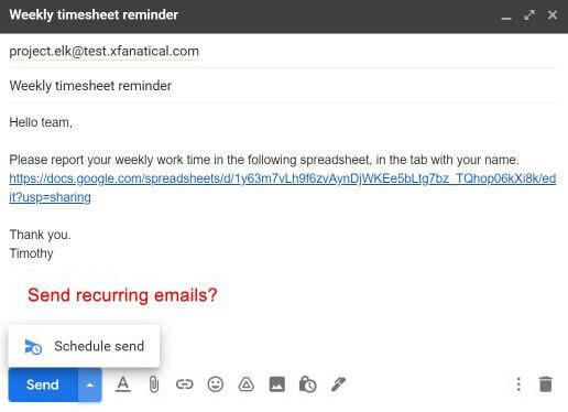 Gmail lacks sending recurring email option