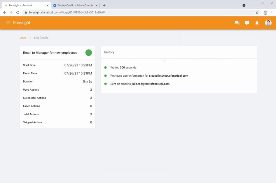 Foresight rule log for onboarding email to manager workflow